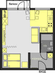 1-комн. квартира, 30 кв.м. на 4 человека, улица Крымский Вал, 6, Москва - Фотография 2
