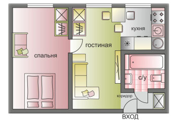2-комн. квартира, 44 кв.м. на 5 человек, Грузинский переулок, Москва - Фотография 2