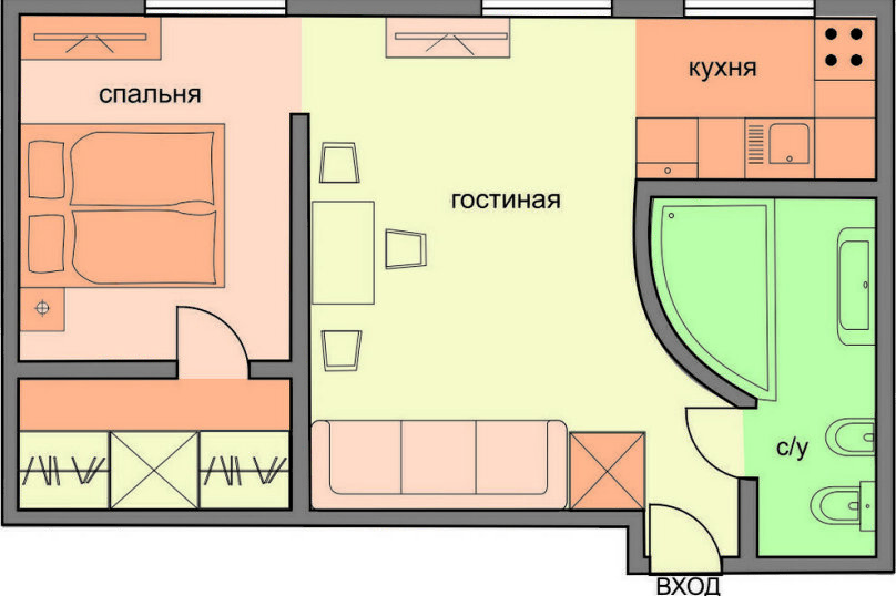 1-комн. квартира, 34 кв.м. на 4 человека, Петровский переулок, 1/30с1, Москва - Фотография 2