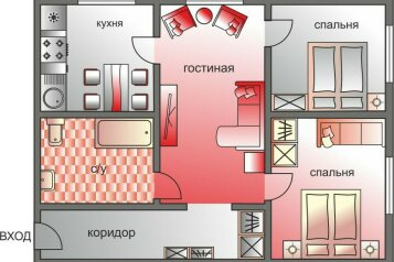 3-комн. квартира, 62 кв.м. на 6 человек, 2-й Щемиловский переулок, 16-20, Москва - Фотография 2