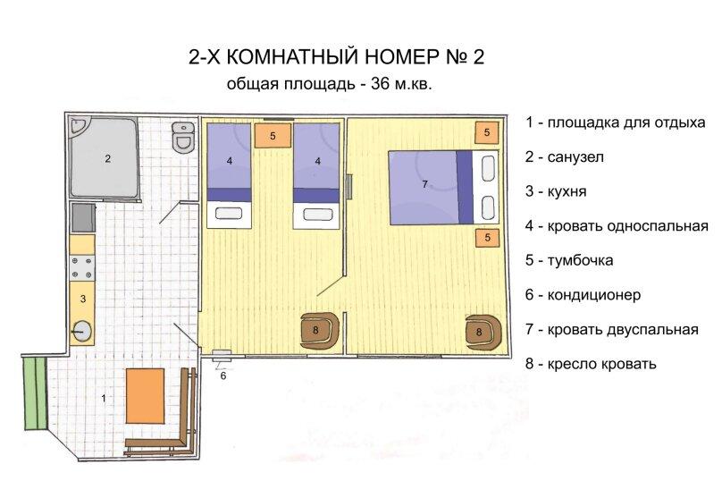 Домик №2, шестиместный ( 4 осн +2 доп ) , двухкомнатный, 4-й Степной проезд, 3, Феодосия - Фотография 1