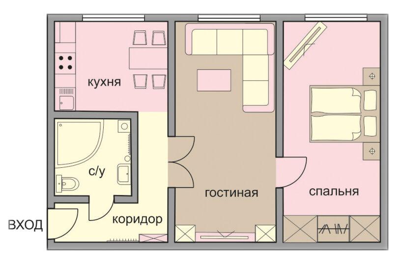 2-комн. квартира, 46 кв.м. на 4 человека, Татарская улица, 7с1, Москва - Фотография 2