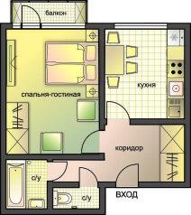 1-комн. квартира, 36 кв.м. на 3 человека, Оружейный переулок, 5, Москва - Фотография 2